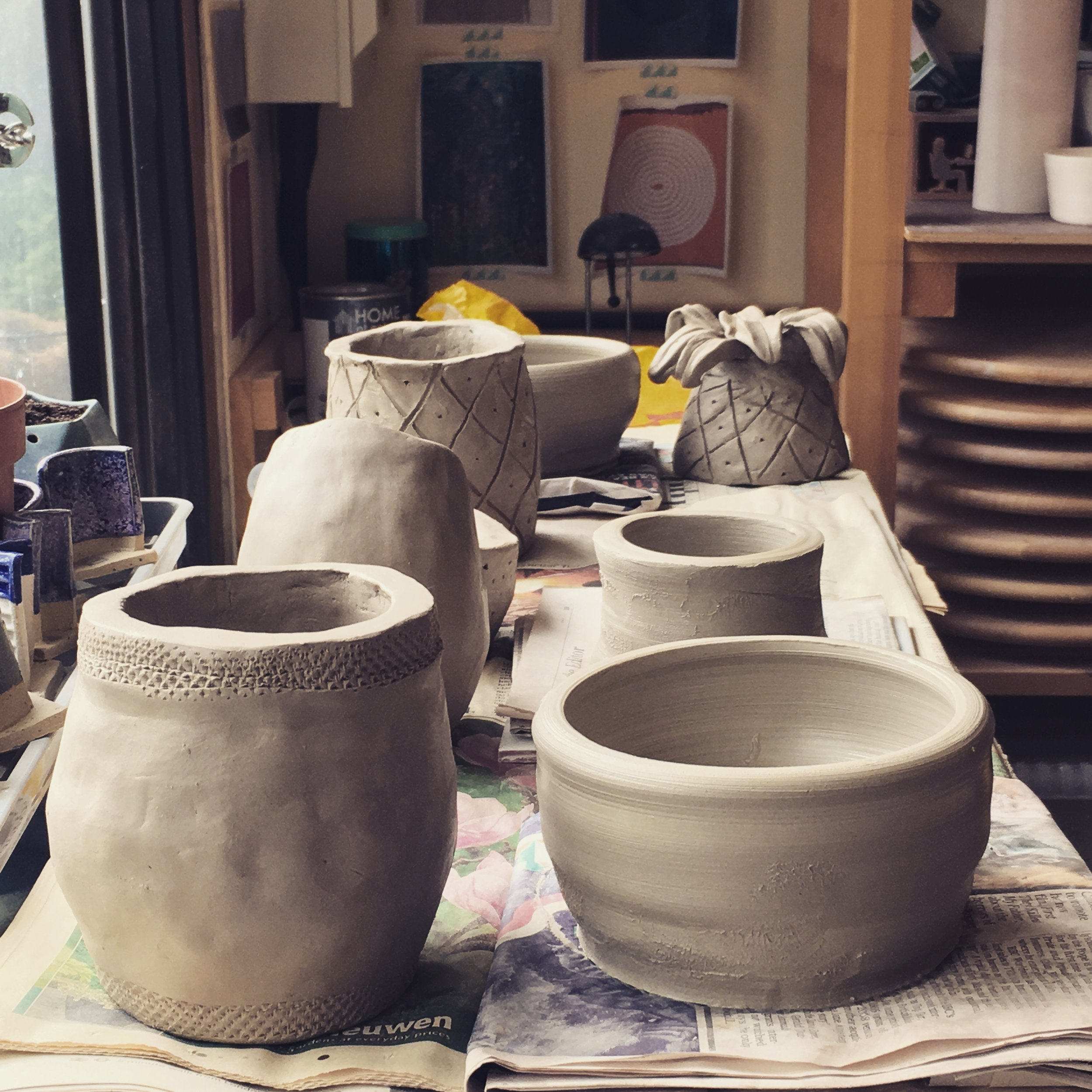 Pinch Pots and Thrown Pots made on a Clay Taster Day by complete beginners!