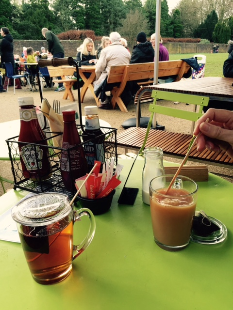 Enjoying tea served with a TEAPY® and glass mug set at the Stables Kitchen, Bramhall.