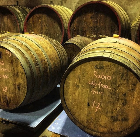 We filled two barrels after pressing; dividing between the wine made from destemmed and whole bunch grapes.