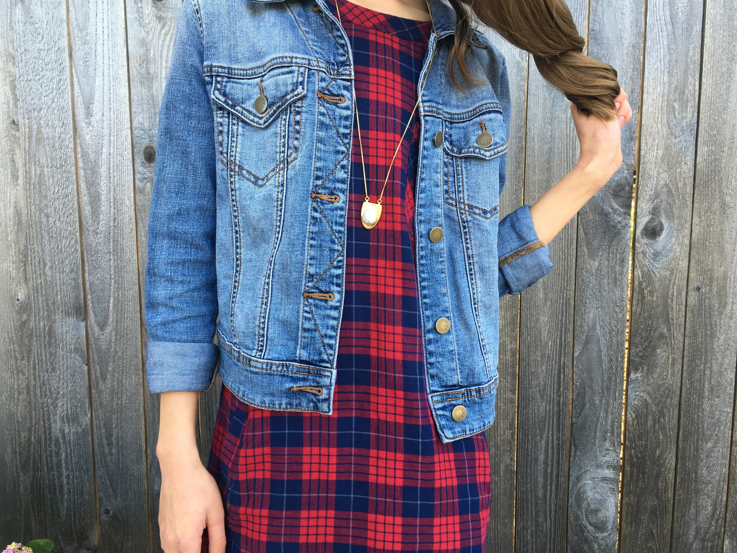 Dress: Madewell, Denim Jacket: Brass Plum, Necklace: Madewell, Shoes: Converse