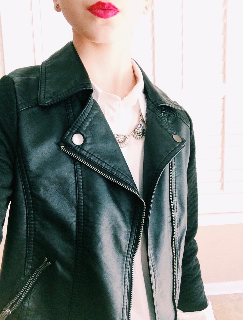 Shirt: Madewell, Leather Jacket: Target, Necklace: J. Crew