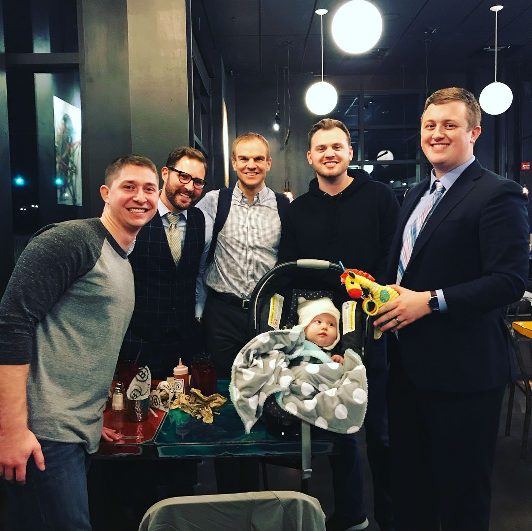 Scott (center) and Russ (far right) with their EDGE group (and Russ'six-month-old son!)