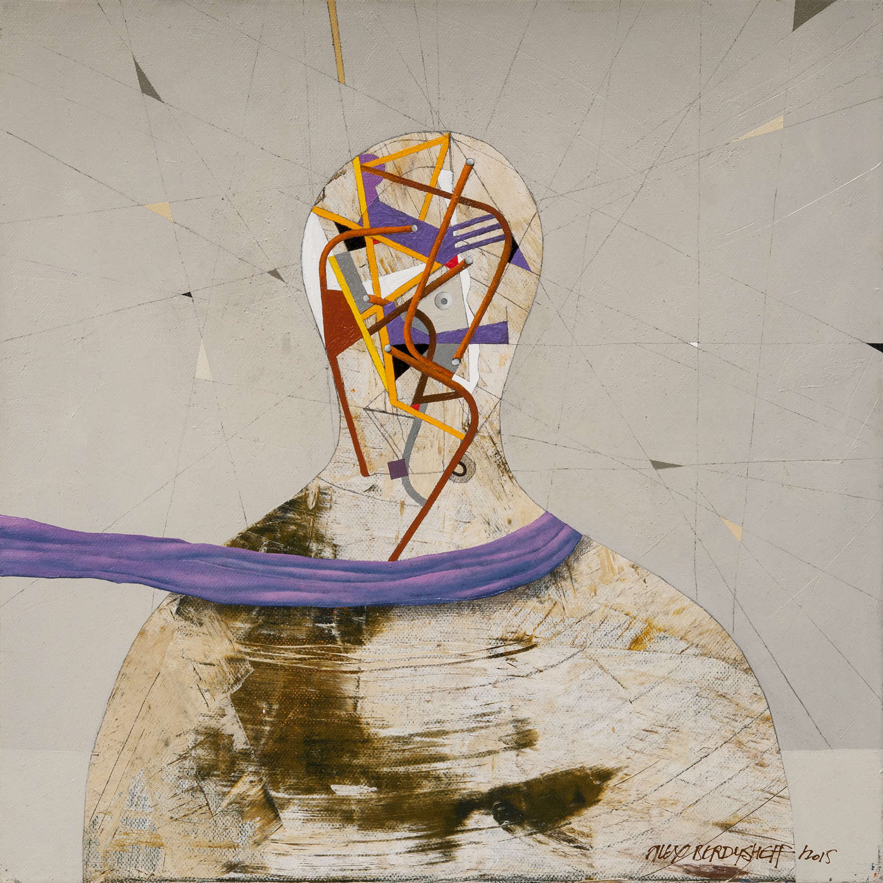 Lilac Scarf, oil on canvas, 46x46 cm, 2015