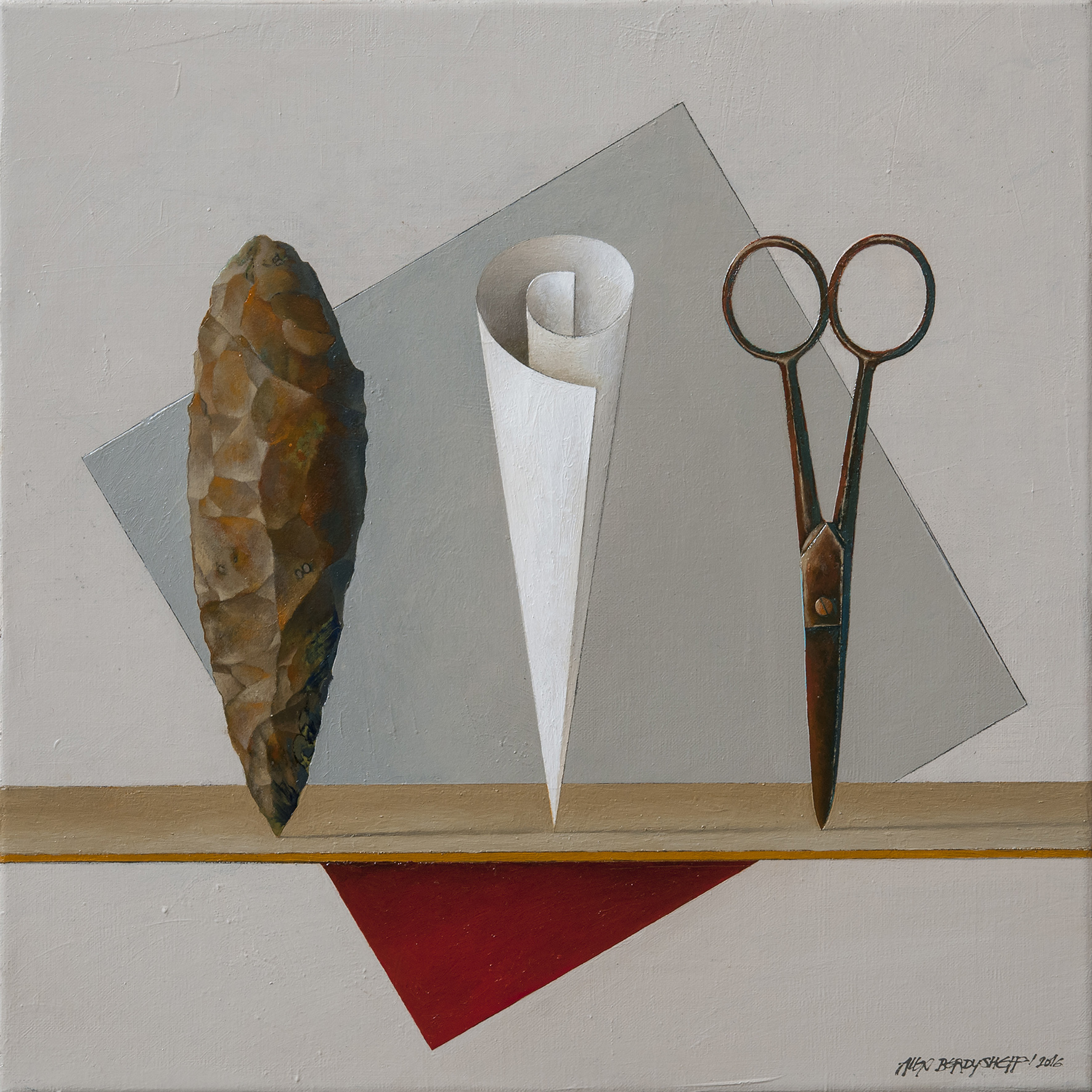 Stone, Paper, Scissor II, oil on canvas, 46x46cm