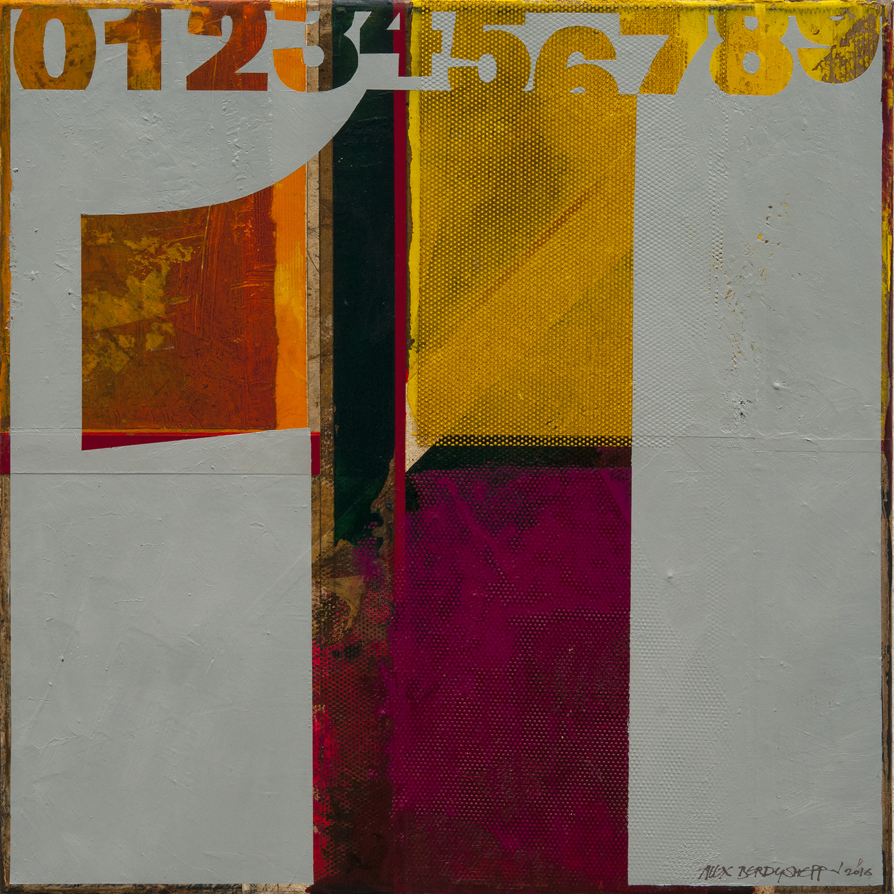 Numbers (1). Tribute to Jasper Johns, oil on canvas, 46x46cm