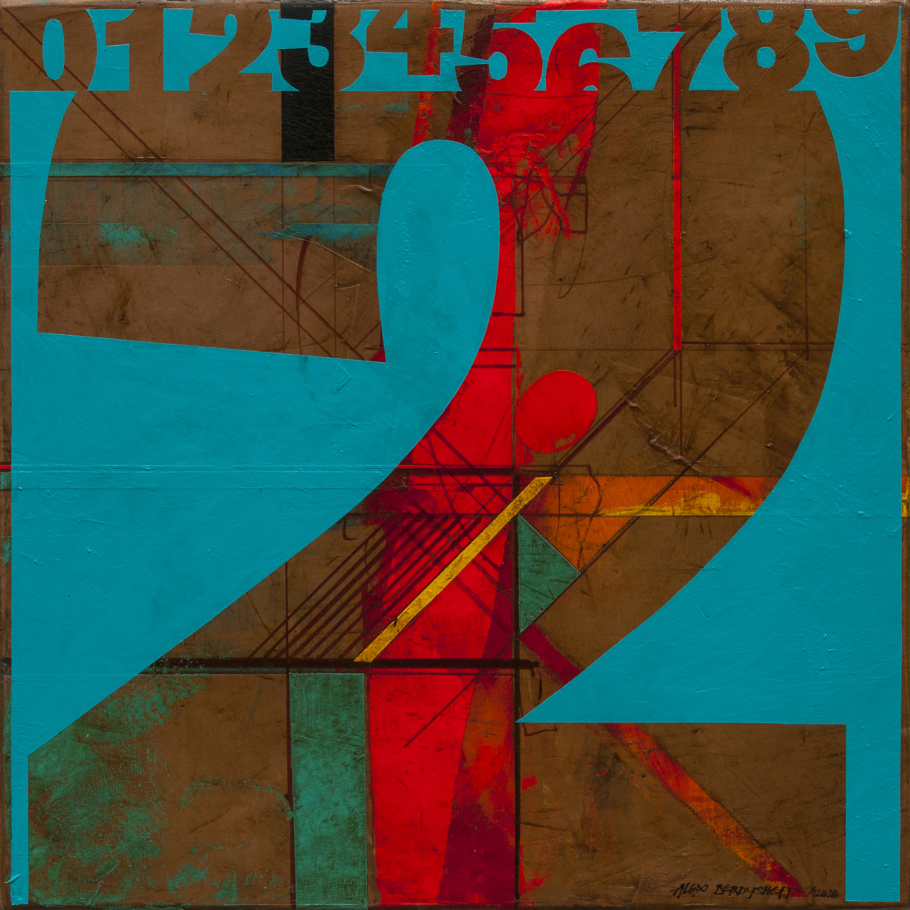Numbers (2). Tribute to Jasper Johns, oil on canvas, 46x46cm