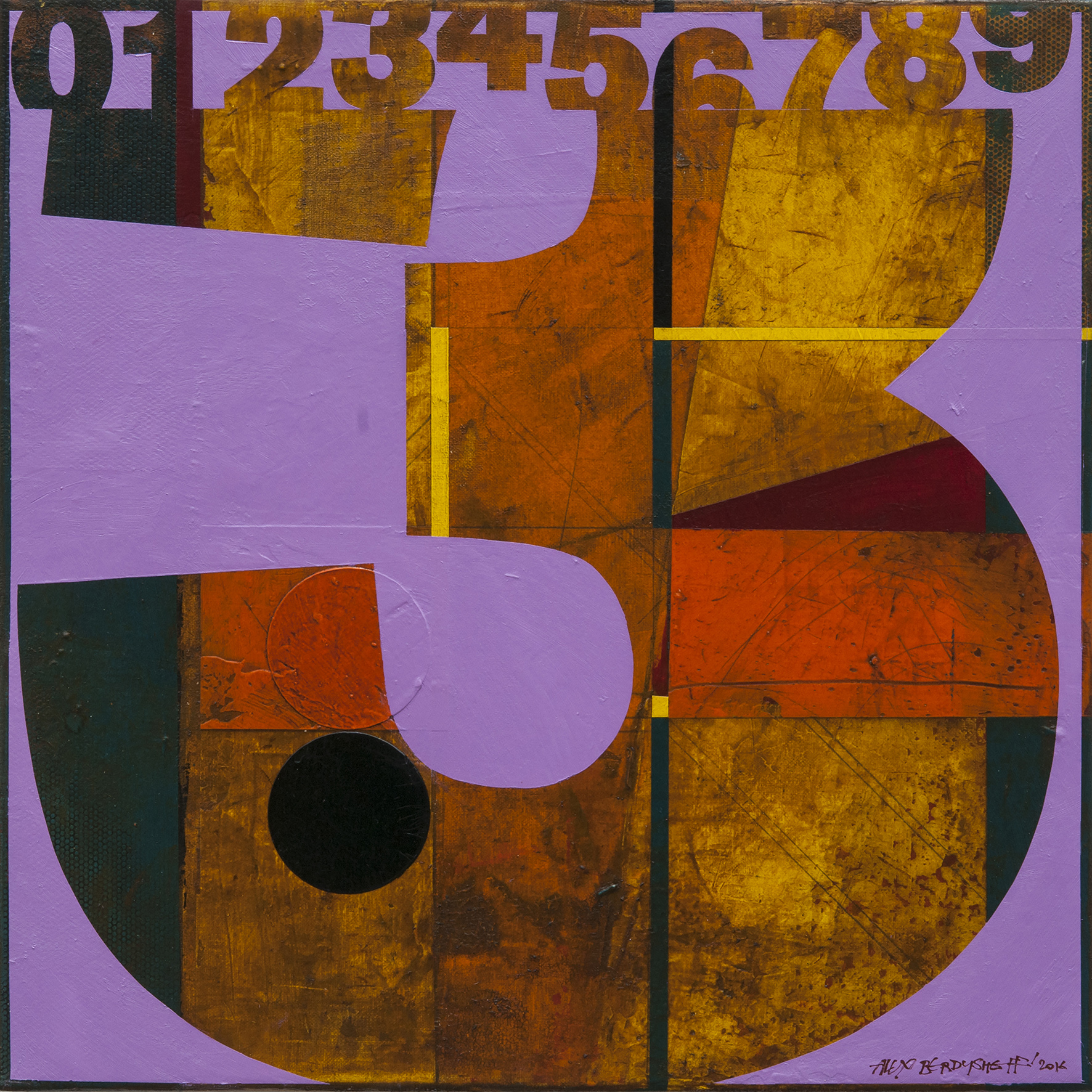 Numbers (3). Tribute to Jasper Johns, oil on canvas, 46x46cm