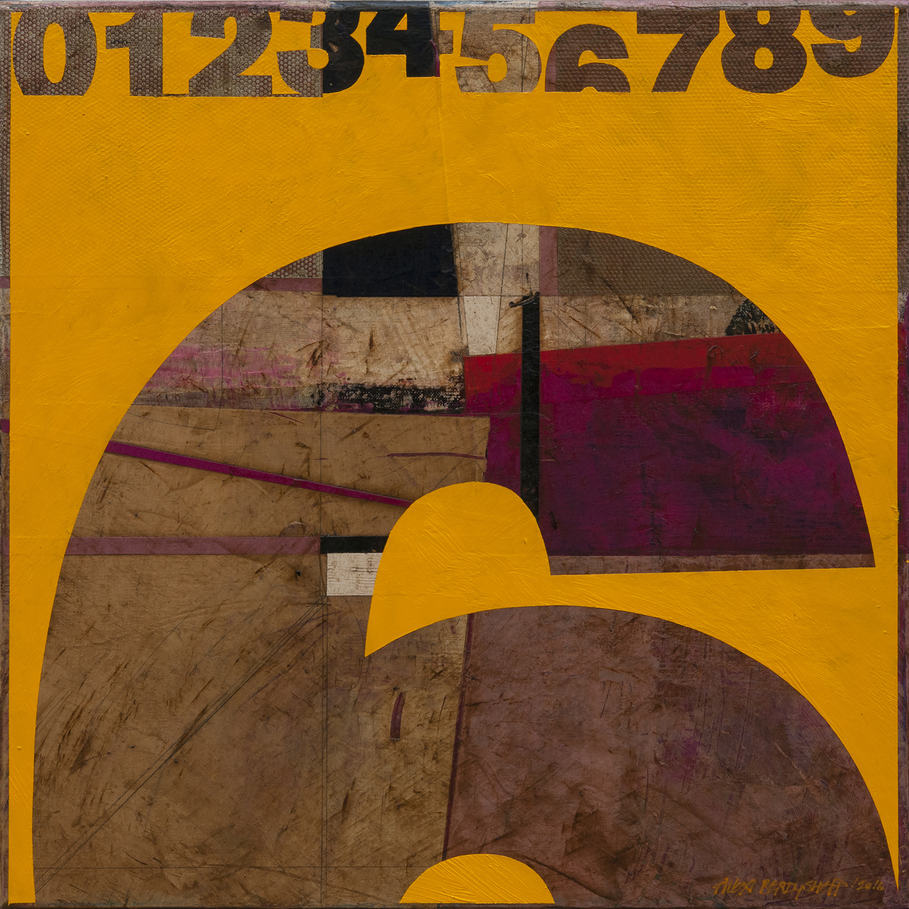 Numbers (6). Tribute to Jasper Johns, oil on canvas, 46x46cm