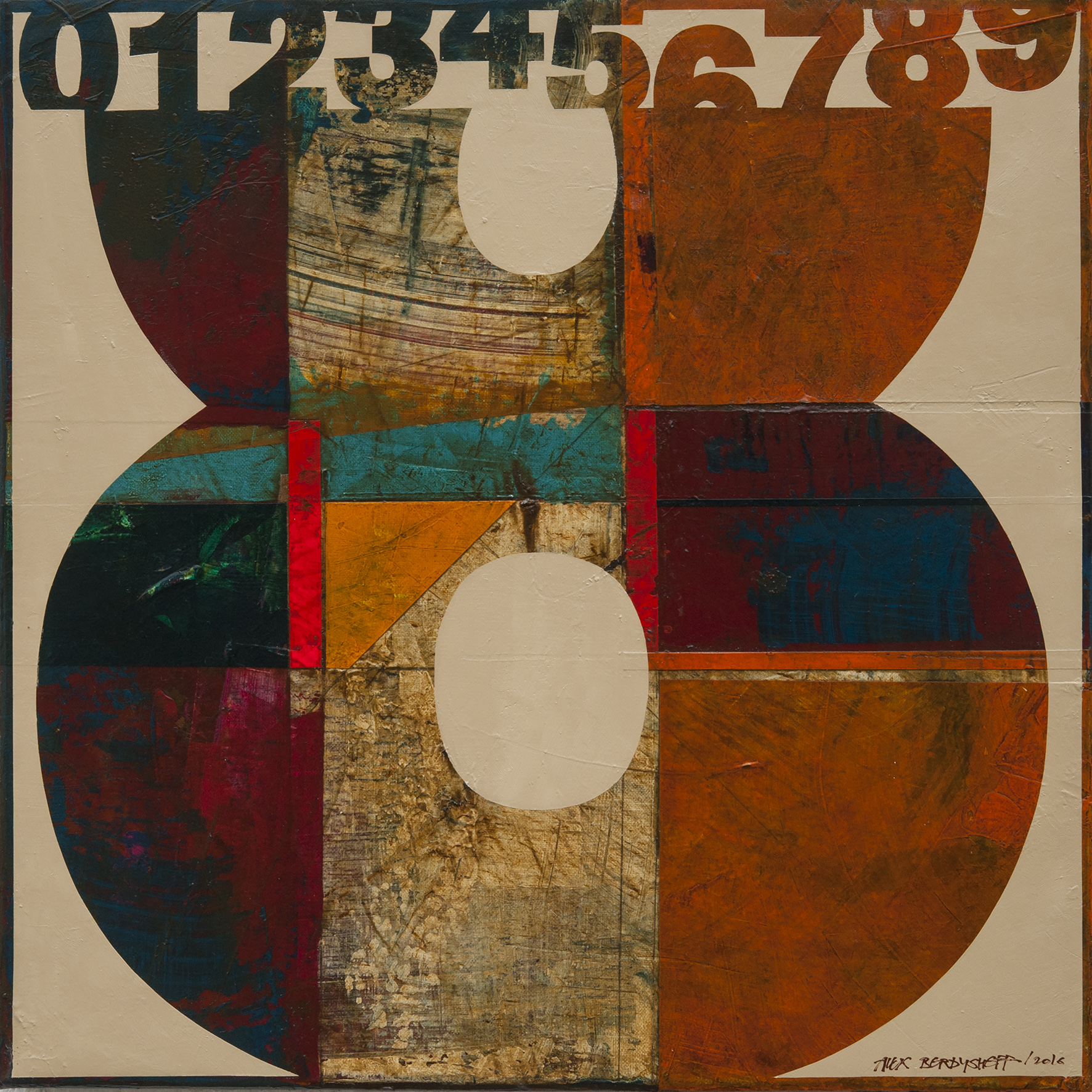 Numbers (8). Tribute to Jasper Johns, oil on canvas, 46x46cm