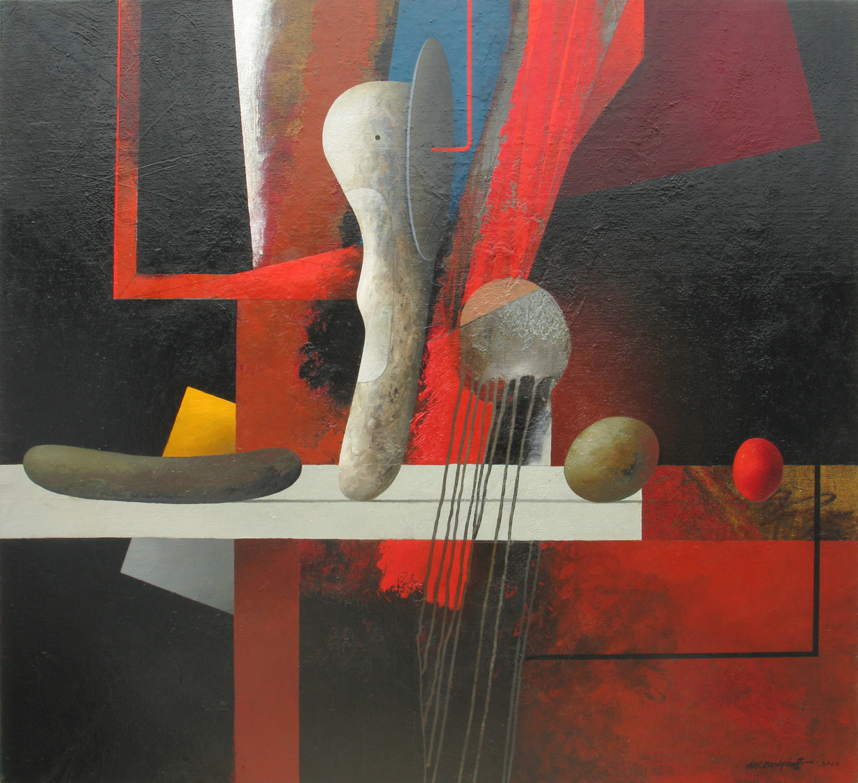 RED, BLACK AND FRAGMENTS, OIL ON CANVAS, 110X120CM, 2010