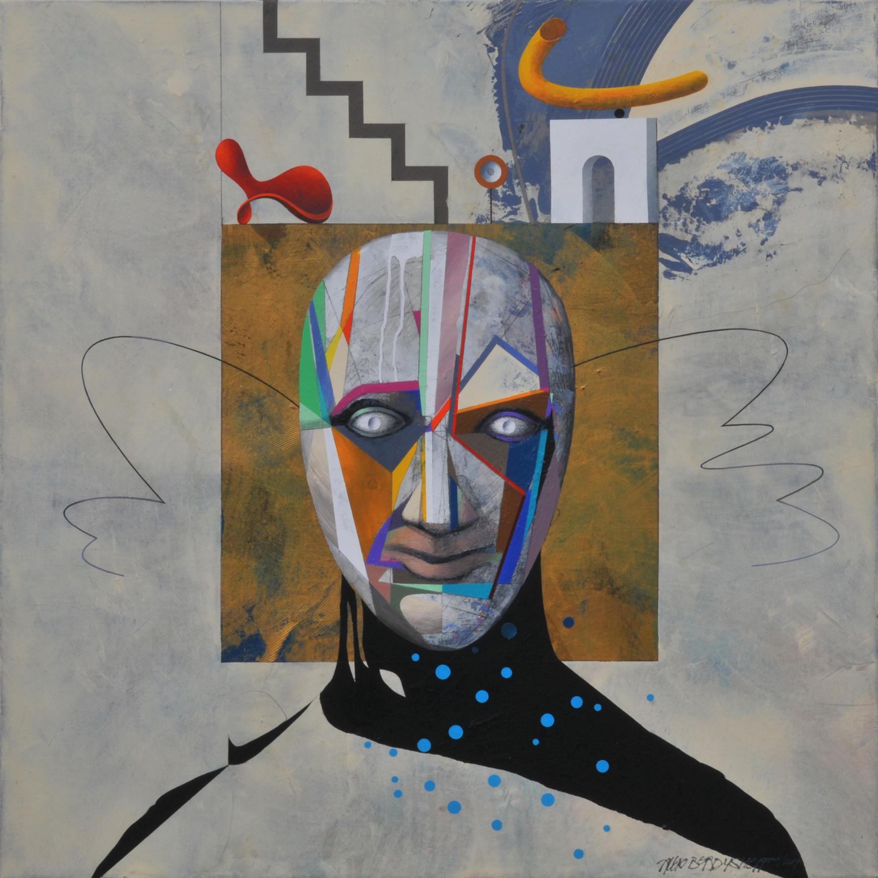 Performer, acrylic on canvas, 85x85 cm, 2019