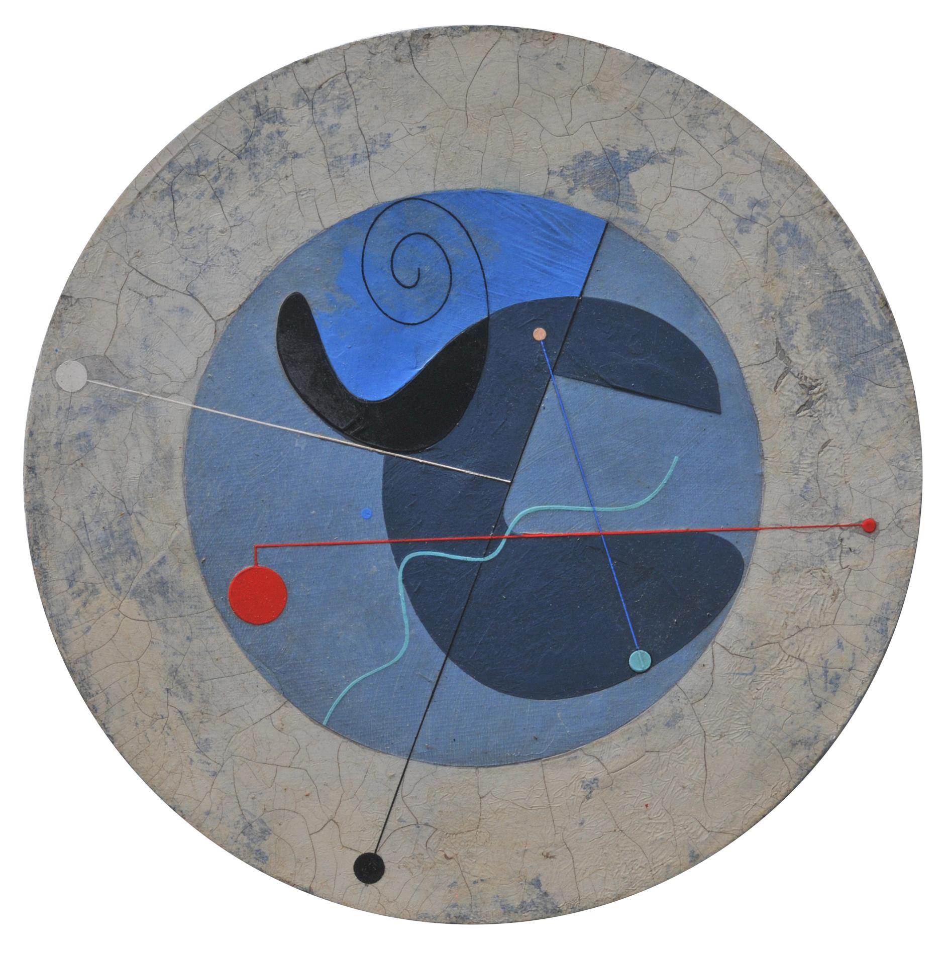 Abstract Blue, acrylic on wood, D 36cm, 2019