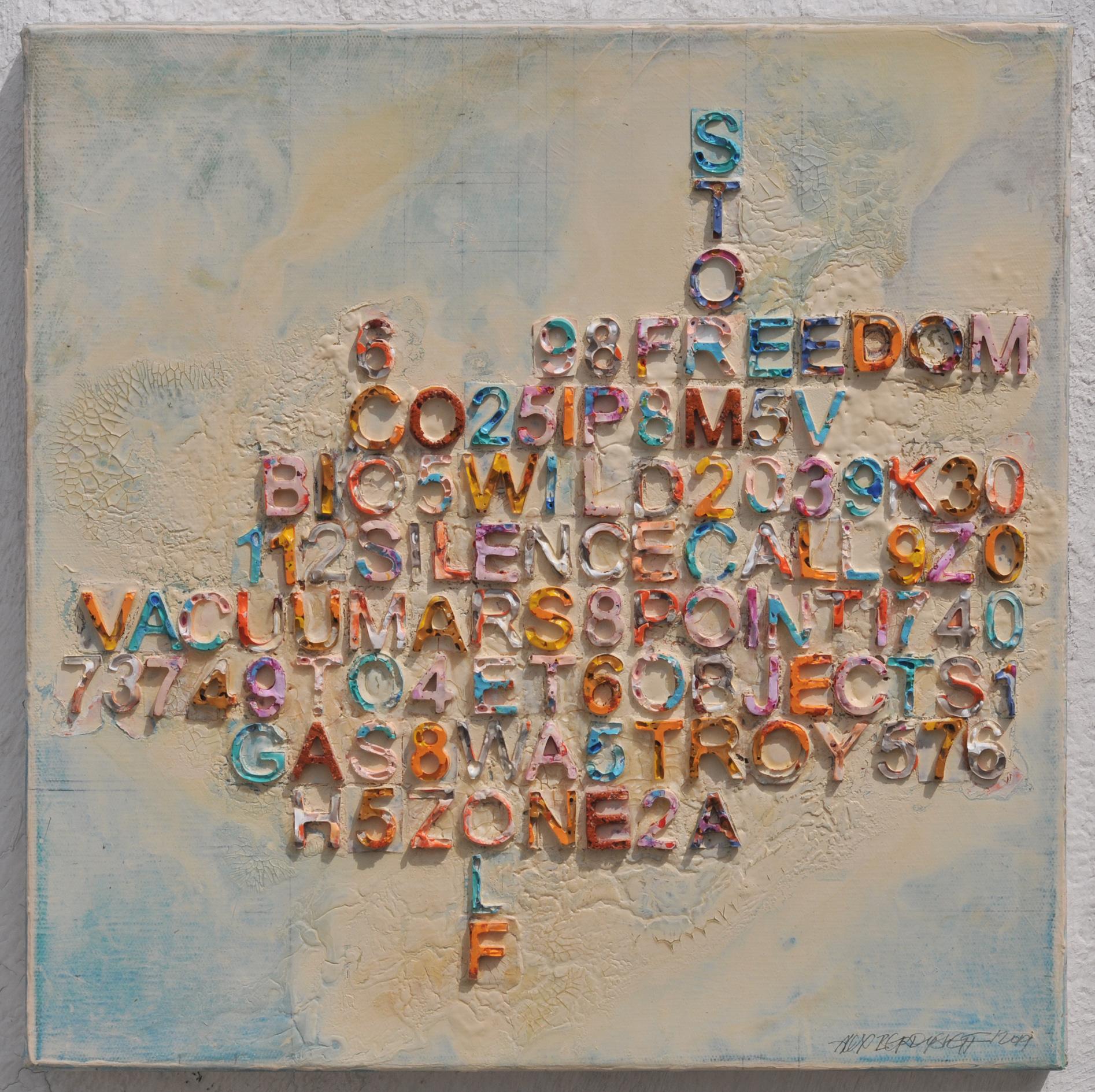 Scrabble, mixed media on canvas, 46x46 cm, 2019