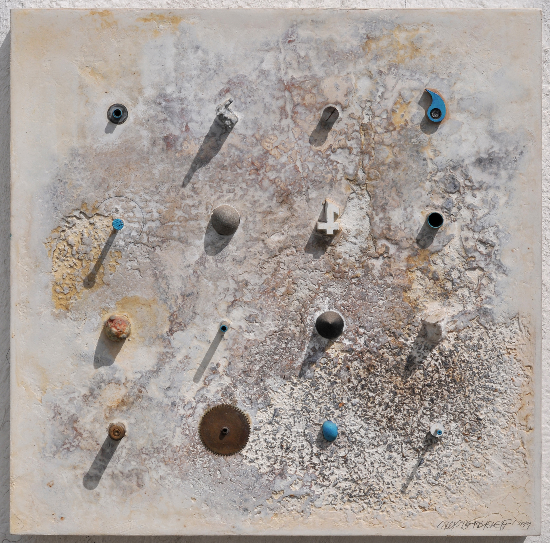 White Square Relief series, gesso, rust, objects on wood, 46x46x11cm, 2017-2019