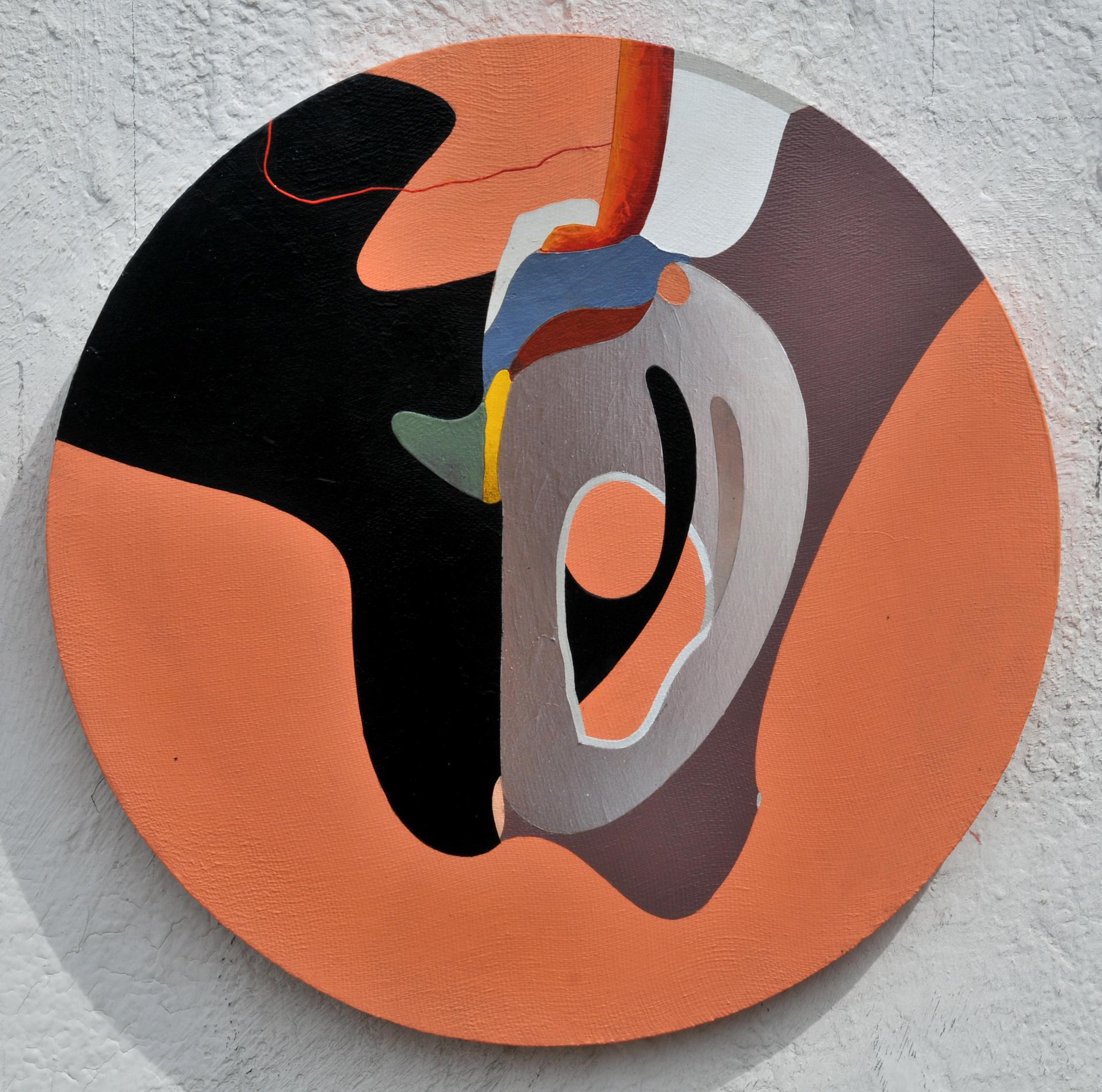 Abstract, acrylic on wood, D 43cm, 2019