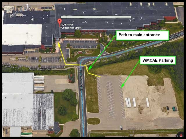 Gentex Corporation | 600 N. Centennial St. | Zeeland, MI 49464    Please use the WMCAE Parking as noted above, follow the yellow path to the main entrance.    Register at the front desk.    WMCAE Community will be meeting in the  Einstein Training Room
