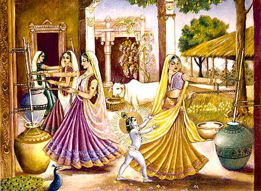 Women making ghee.
