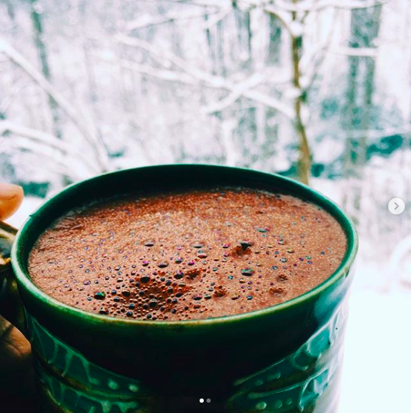 Sipping Cacao: Hot Water + 1-2 TBS Cacao Ritual Blended On High For 2 MInutes