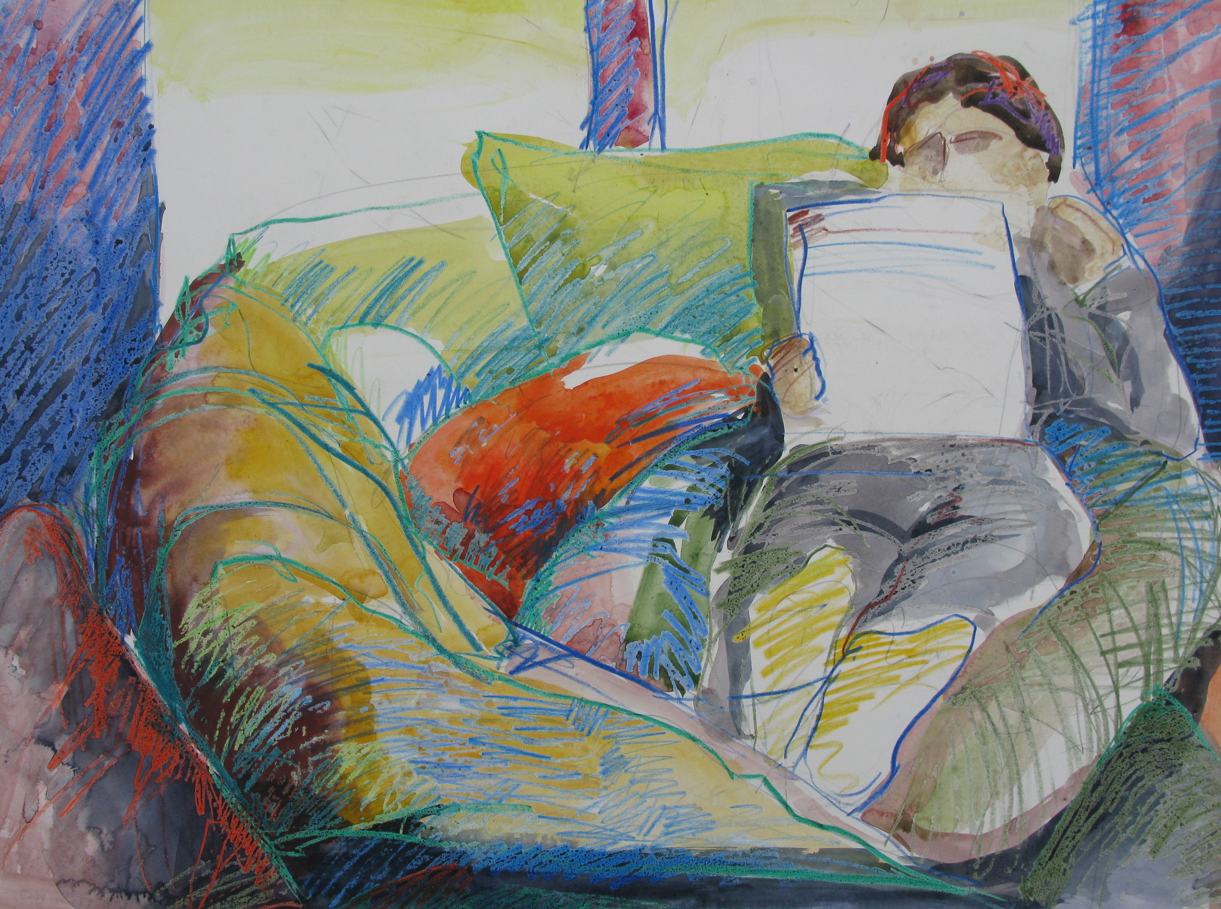"""editing in the afternoon   0791          watercolor & beeswax       20"""" x 30"""" beth vendryes williams"""
