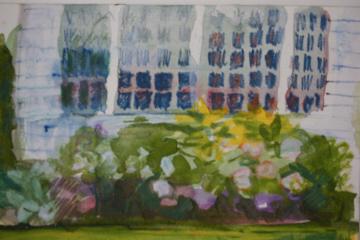 """petite garden windowswatercolor 4"""" x 6"""" landscape bvw    499."""