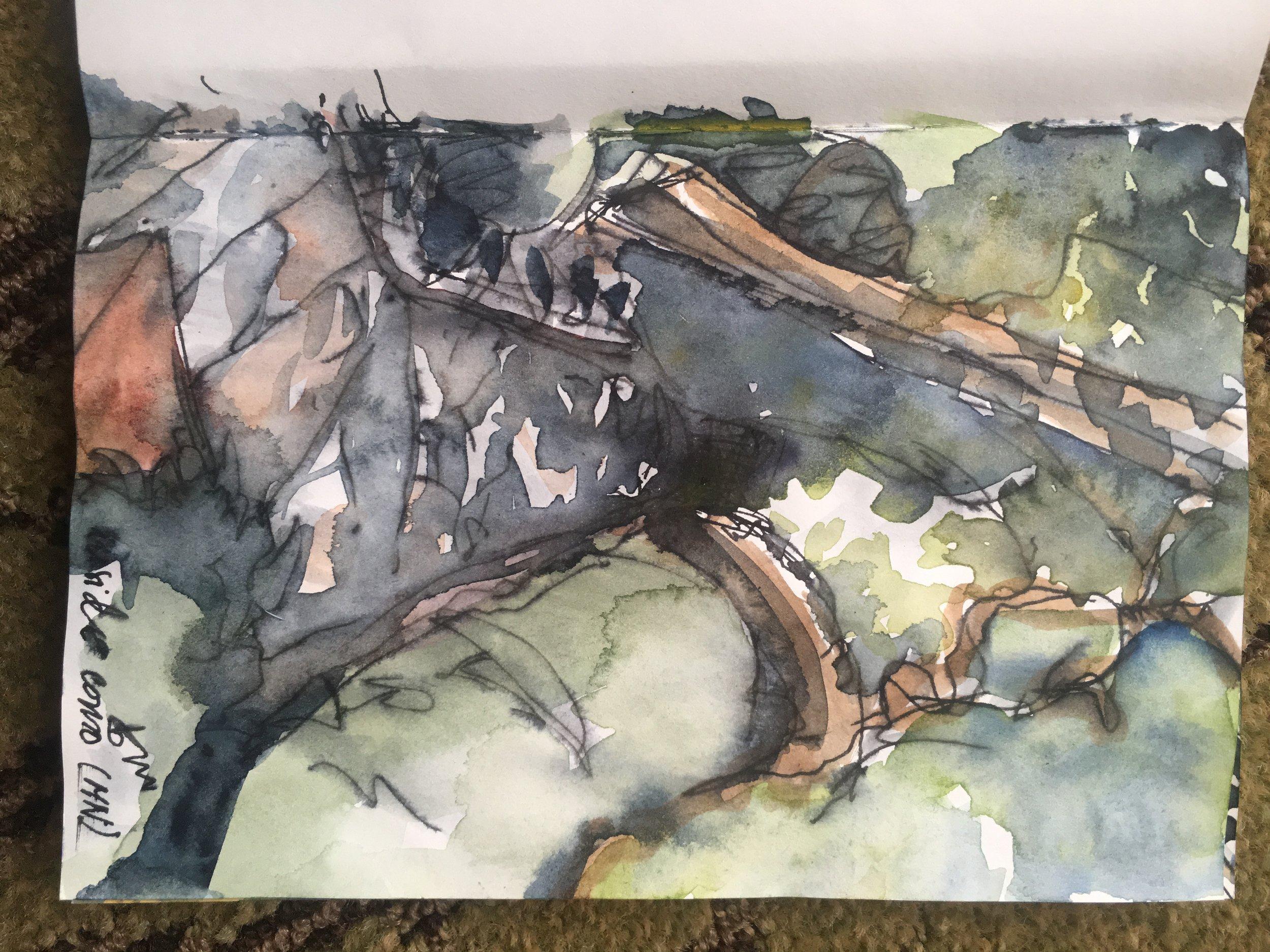 Japanese Garden; Memory of Nagasaki. watercolor & ink, journal, 2016.8.30 ©beth vendryes williams