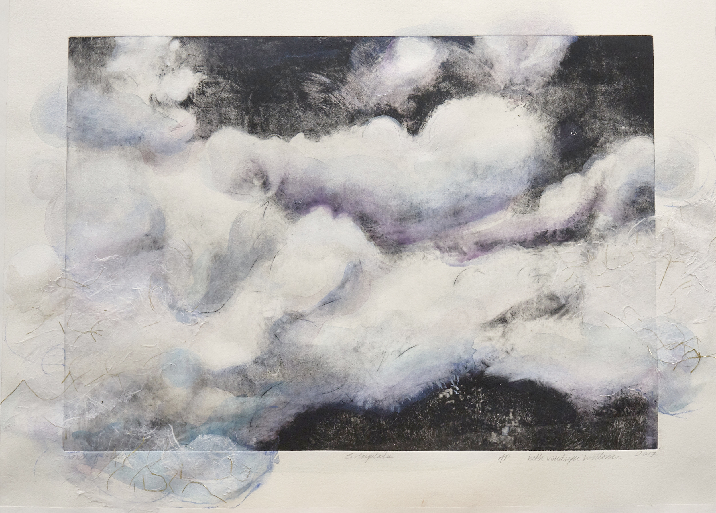 let the clouds in              #953                          mixed media ( watercolor, Solarprint, acrylic, Japanese tissue collage   22' x 30""