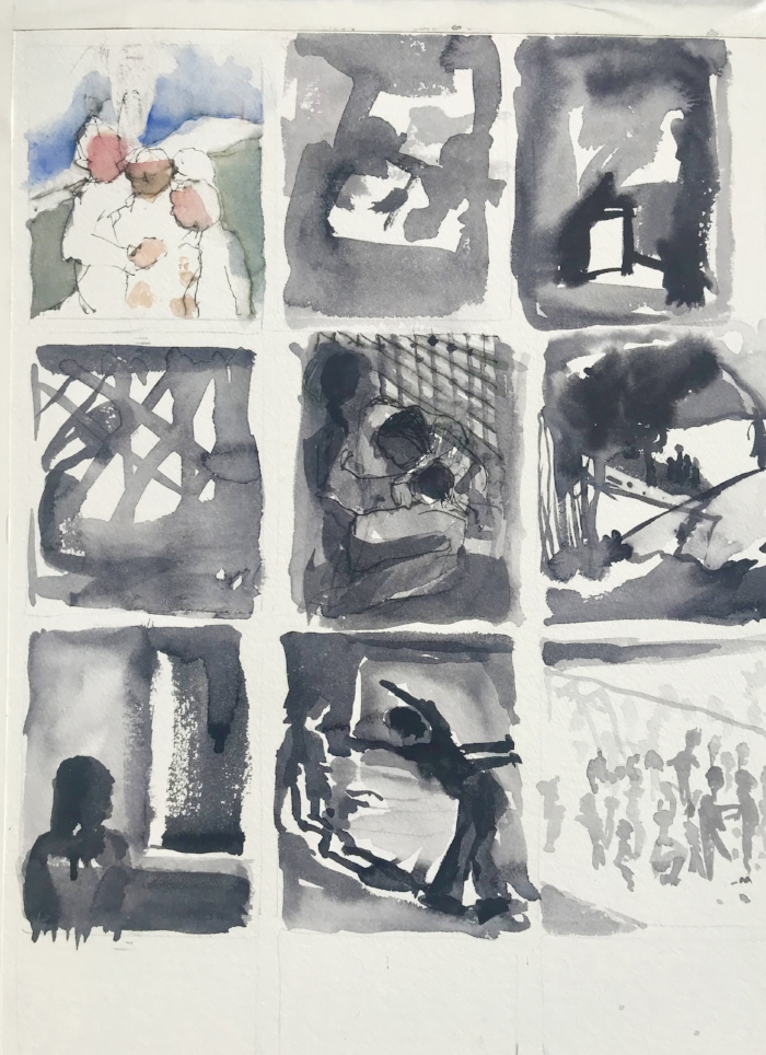 seeking refuge/ process sketches    watercolor & ink/rag paper     beth vendryes williams