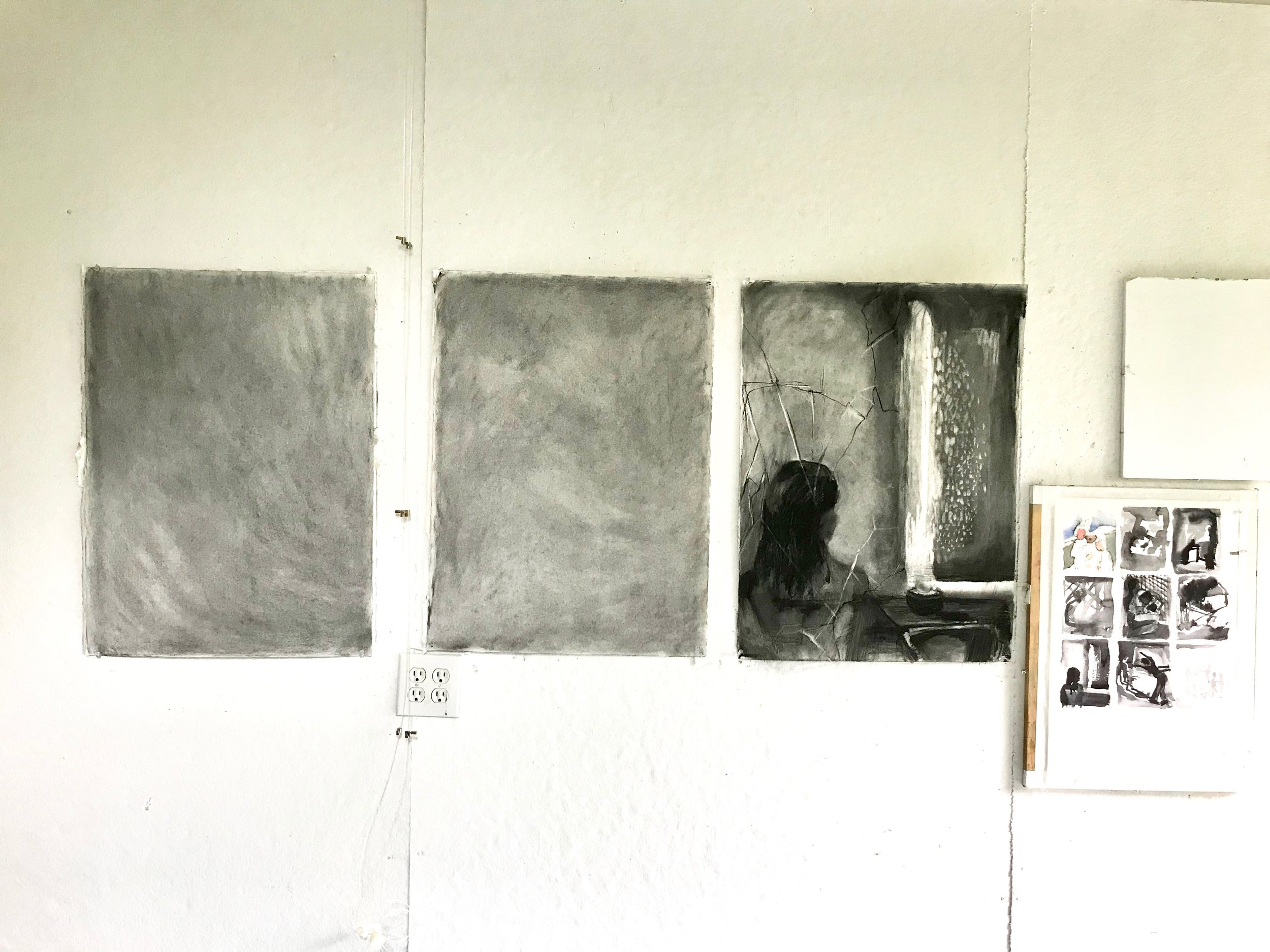 Seeking refuge series is in process....what's the hold up?          charcoal on paper          bethvendryes williams