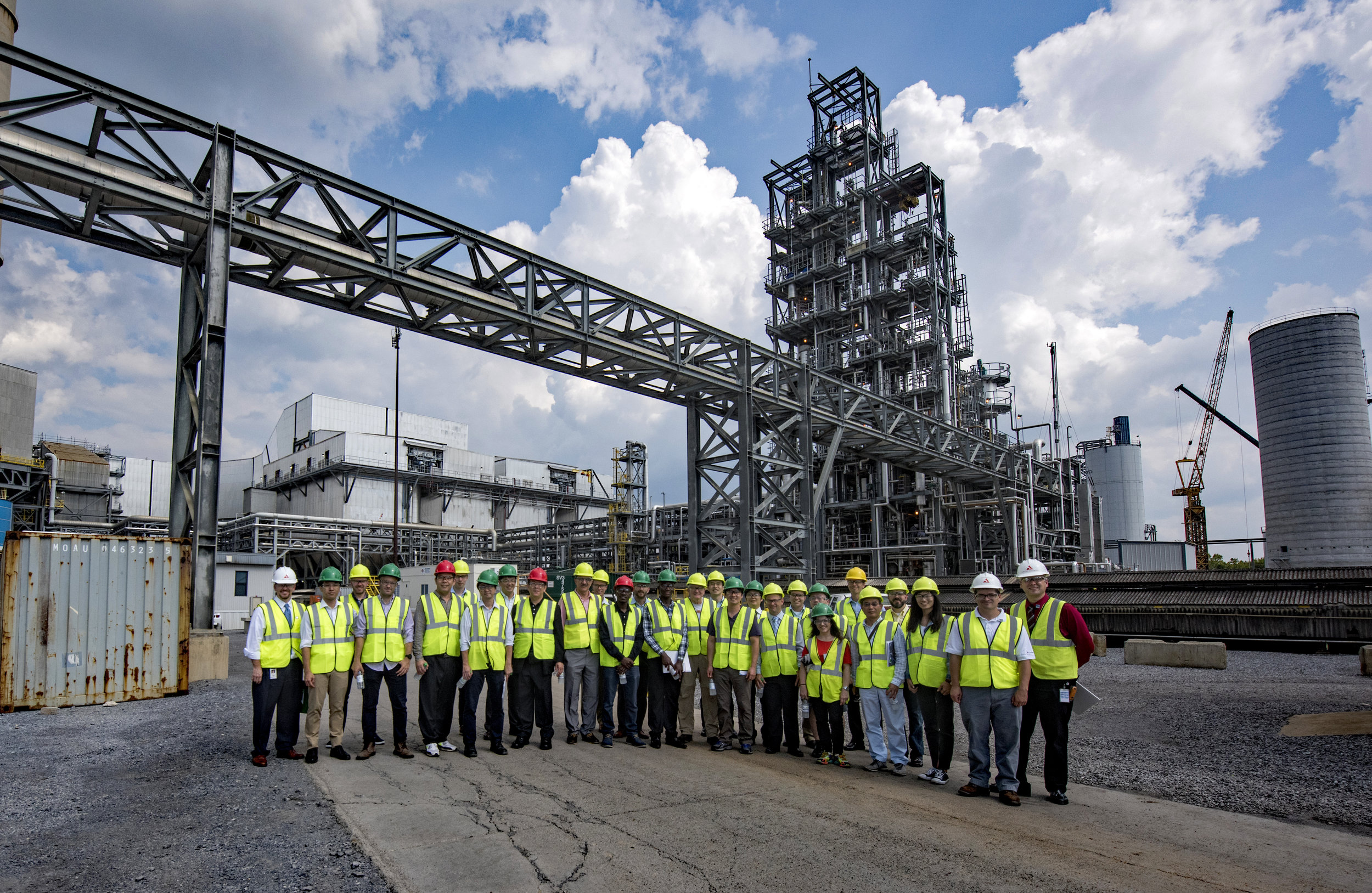 A group of global CCS experts visit the National Carbon Capture Center's post-combustion carbon capture facility, located at Alabama Power's Plant Gaston.