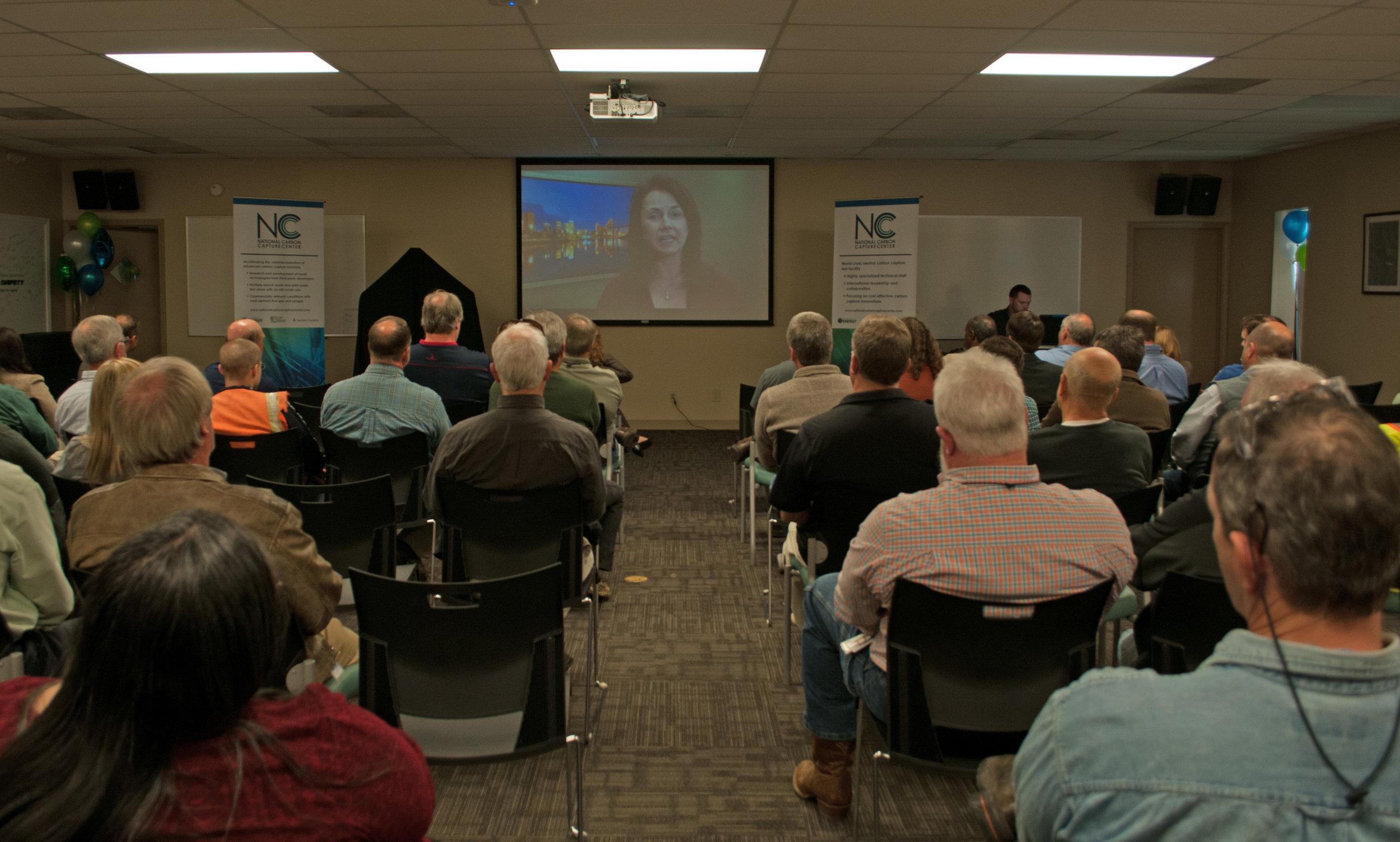 Southern Company Chief Operating Officer Kim Greene congratulates employees via video.