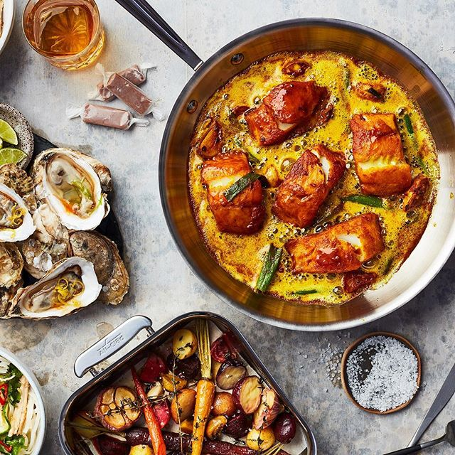 And here's the DPS opener for @canadasbest100 . Styled by @arisayokomura and AD @mrevank @allclad_canada . . . . . . .  #turmeric #oyster #allclad #f52grams #feedfeed #saveur #foodandwine #shareyourtable #foodphotography #foodstyling #beautifulcuisines #tastingtable