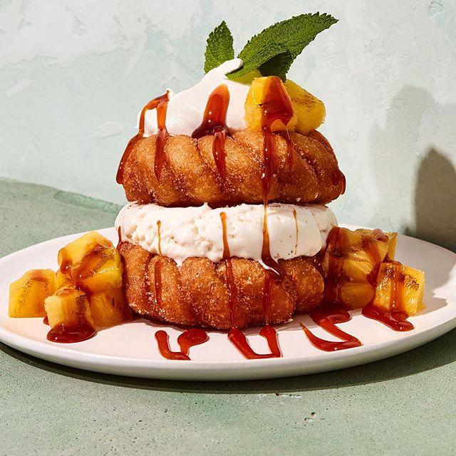A Donut ice cream sandwich photographed for @bostonpizzacanada and @thetypeofjohn . . . #donut #icecream