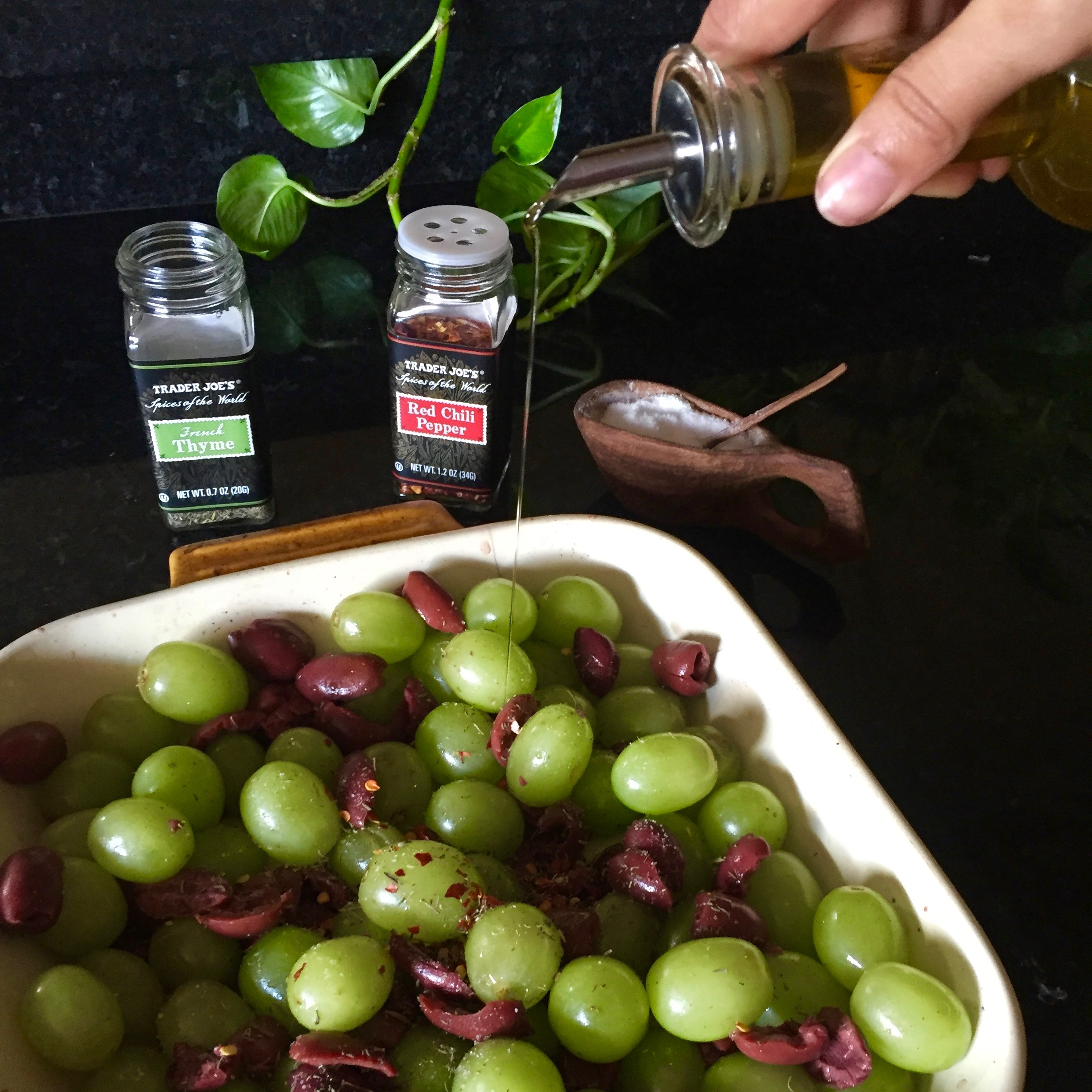 A small drizzle of olive oil, to keep things moist while baking.