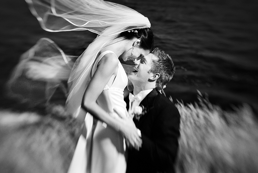 wedding couple embraces by the ocean, victoria bc