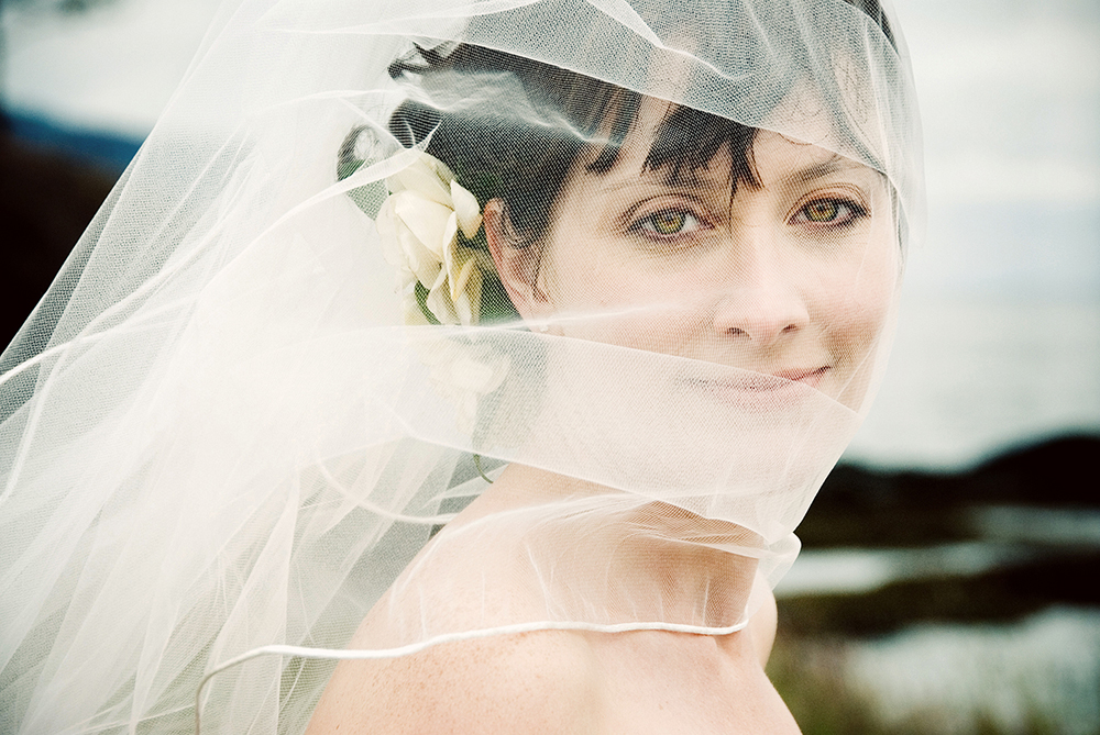 portrait of bride with vail, Gulf Islands, BC