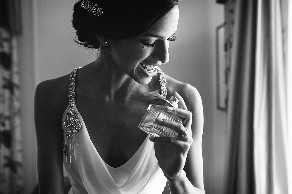elegant bride putting on perfume, Empress Hotel, Victoria BC