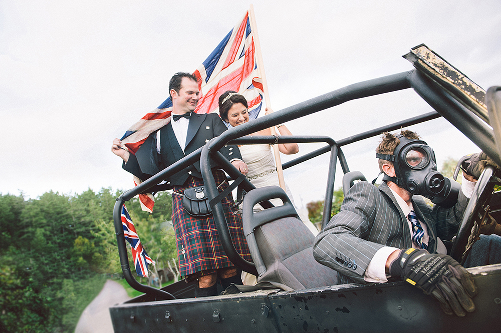 bride and groom ride dune buggy, victoria wedding photography