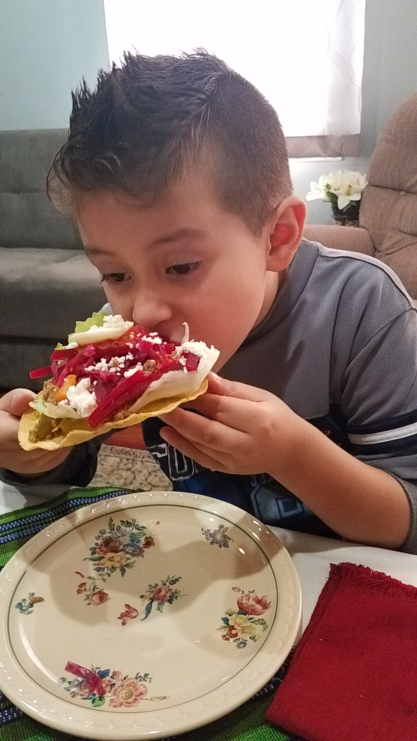 Chowing down on a beet tostada!