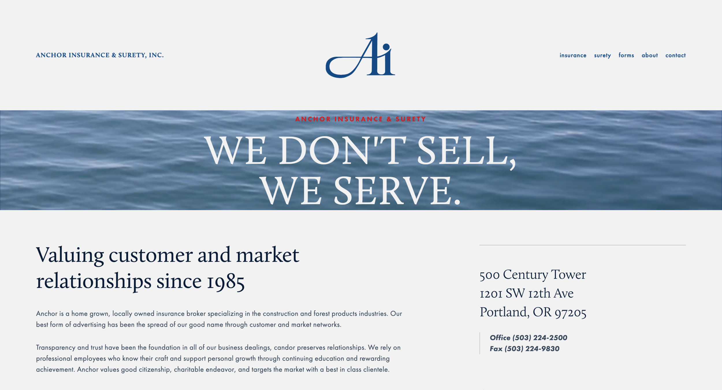 Anchor Insurance has been in the marketplace for over 30 years and has become a respectable commercial insurance and surety firm. In need of a modern engaging website where they could celebrate their success and provide easy to use forms for their clients. Optimized and responsive for computers, tablets, and phones for a simple and seemless front-facing user expeirence.
