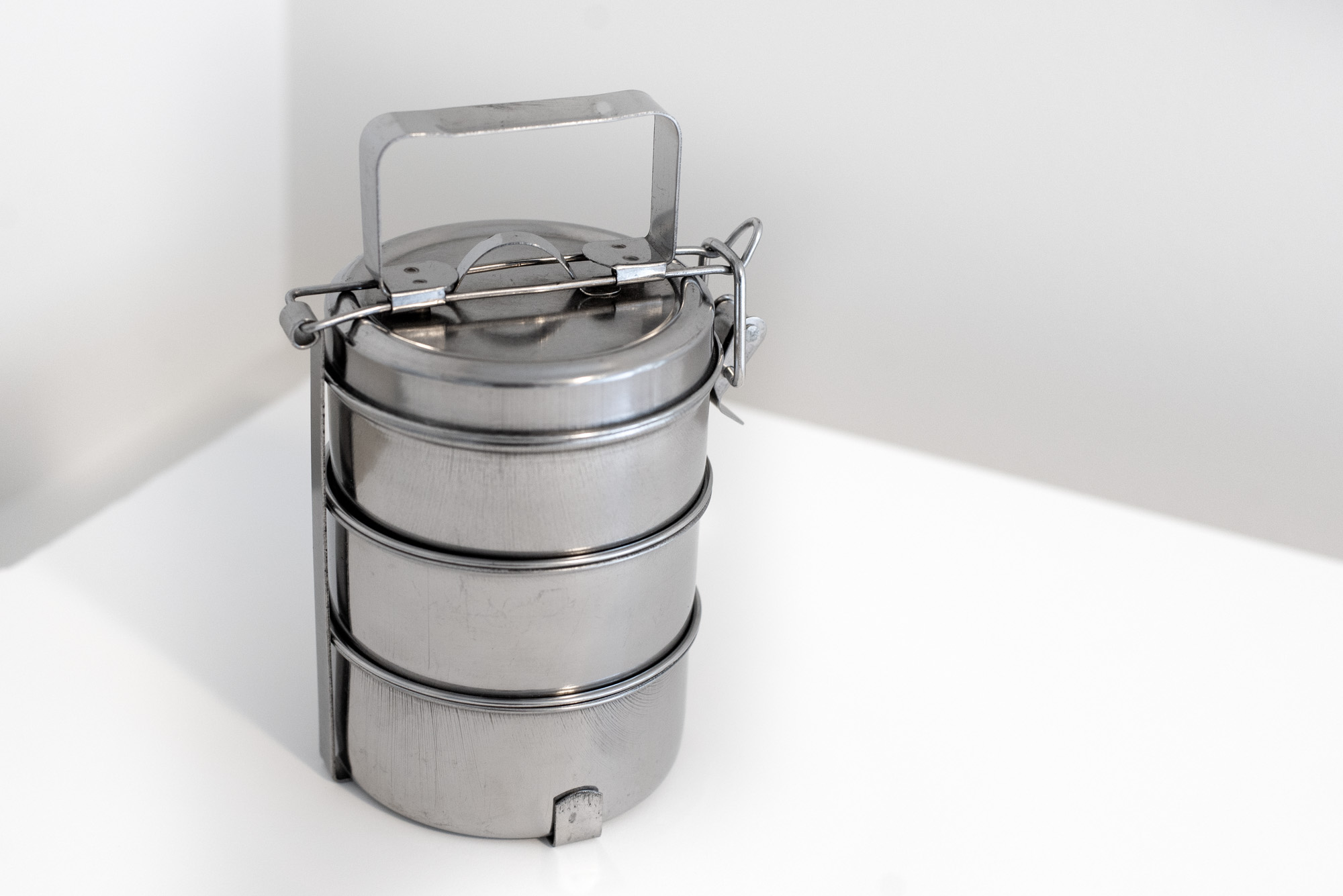 Stacked Metal Lunch Containers from India -