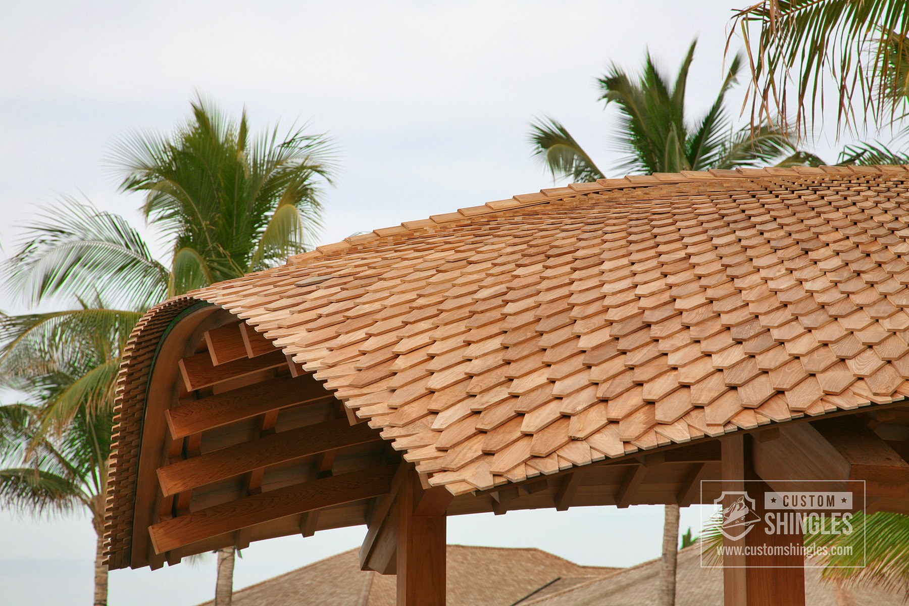 tropical resort building overhang
