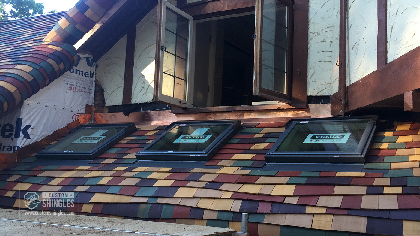 customized bent wood shingles colorful