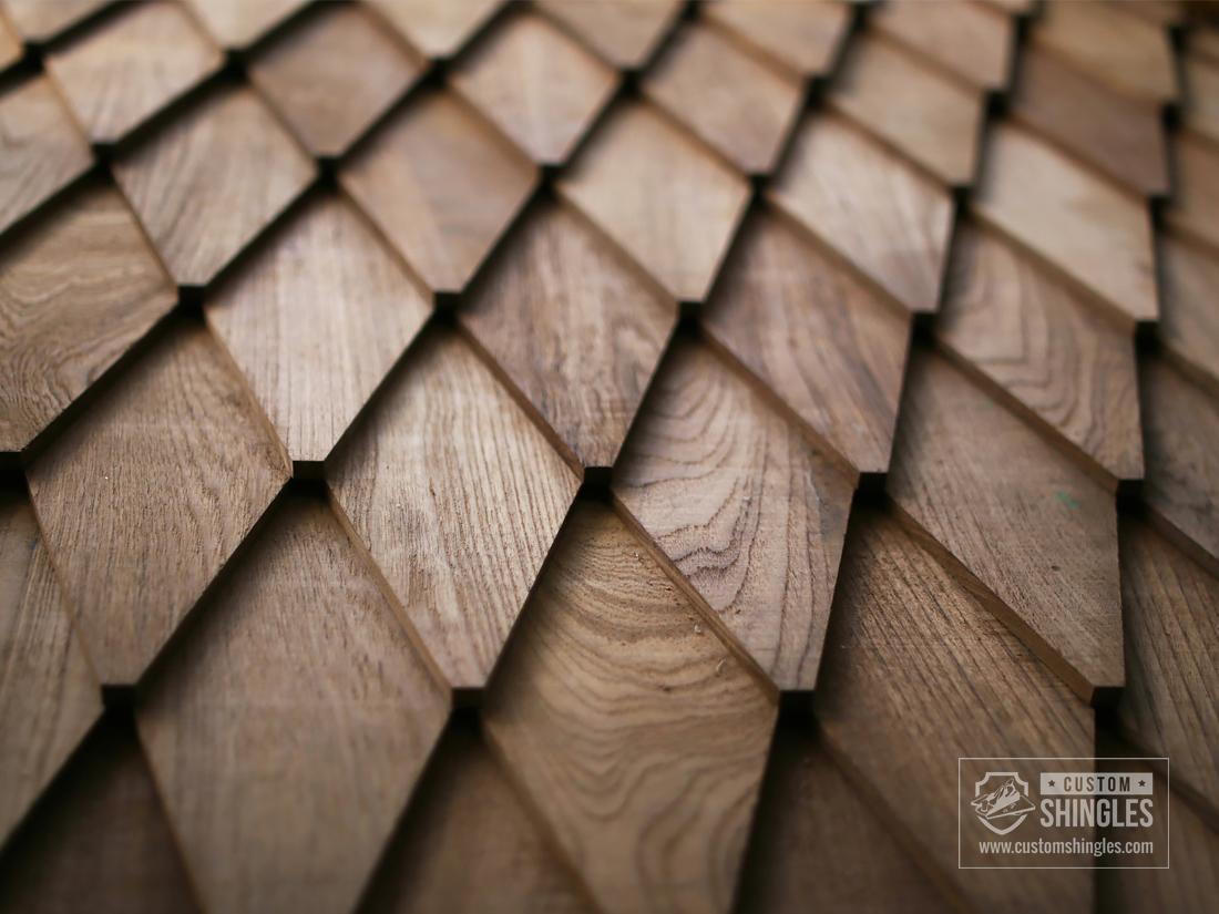 diagonal cut teak shingles