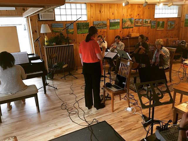 Soundtrack recording for @wendyplacko and @senevilles @hot_spot_music. Wendy directs with Stephanie Henry on piano, Paul Beck on trombone, Michael Berger on trumpet, Martha Larson on cello and Gail Nelson on violin.