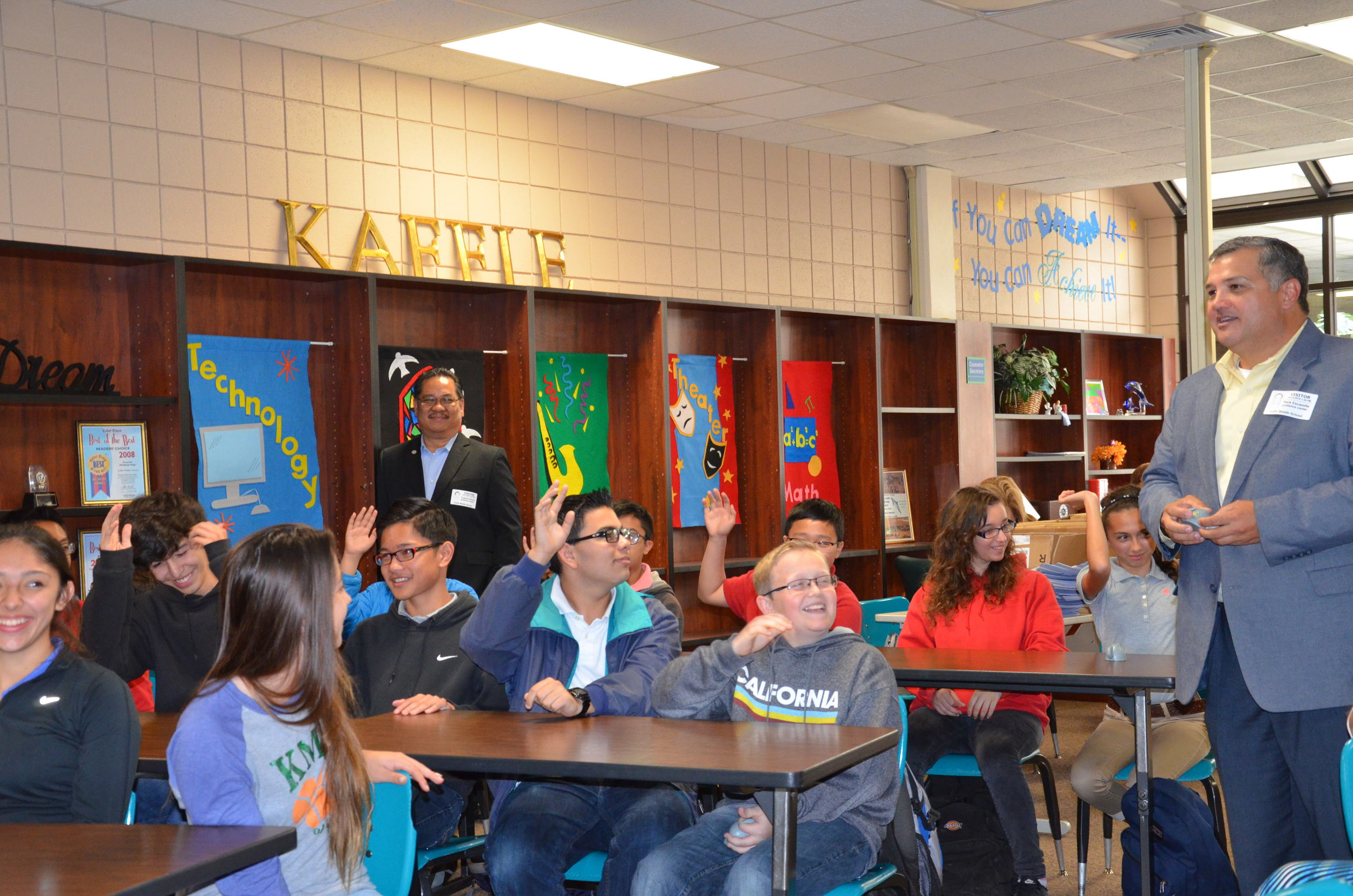 President Escamilla engages Kaffie Middle School students.JPG