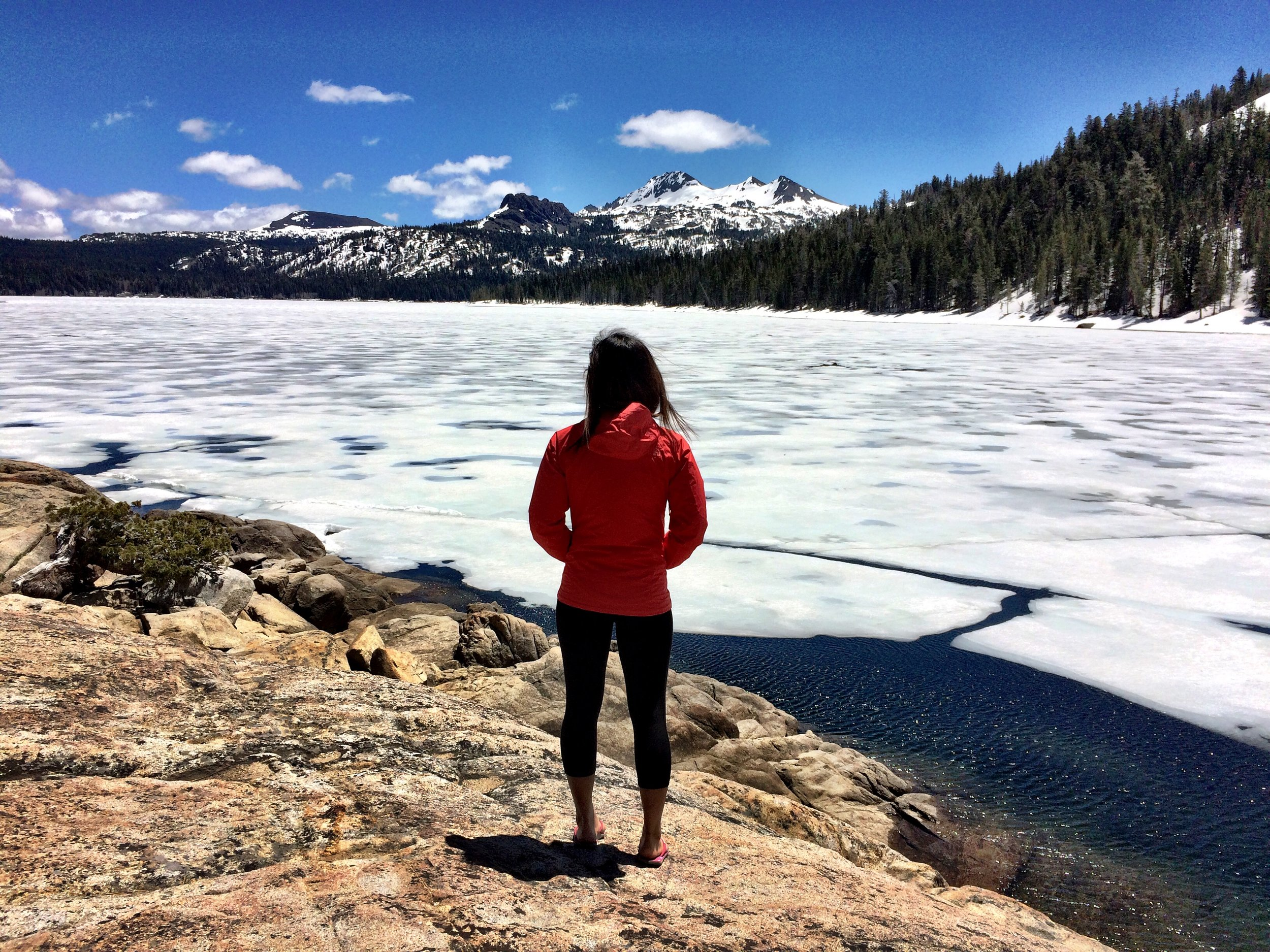 Overlooking the frozen Caples Lake, located some 30 miles south of Lake Tahoe, a popular ice fishing spot in California.