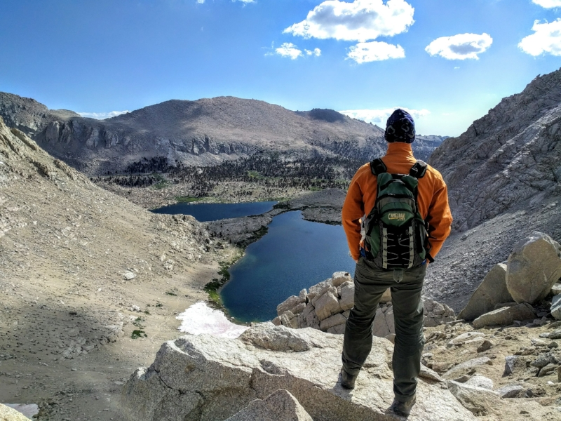 Steve taking in the beauty of the mountain and lake before him (Old Army Pass, Mt Langley)