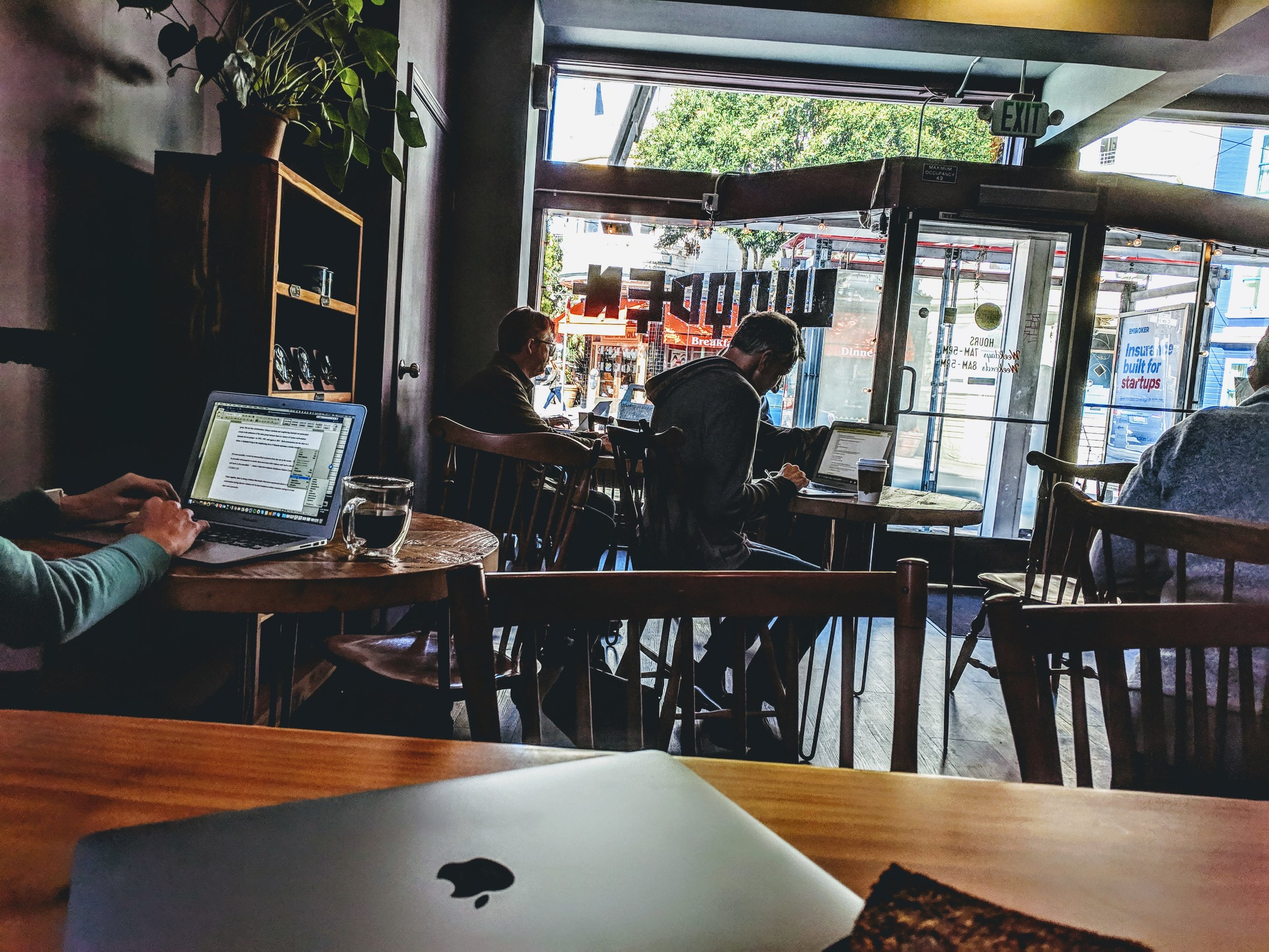 One of my writing meetups in San Francisco, typically in coffeeshops which if you think about it, are watering holes for creatives, artists and writers in the past to gather and do work, critique and exchange ideas
