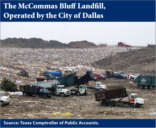 McCommas Bluff Landfill is located on the banks of the Trinity River.