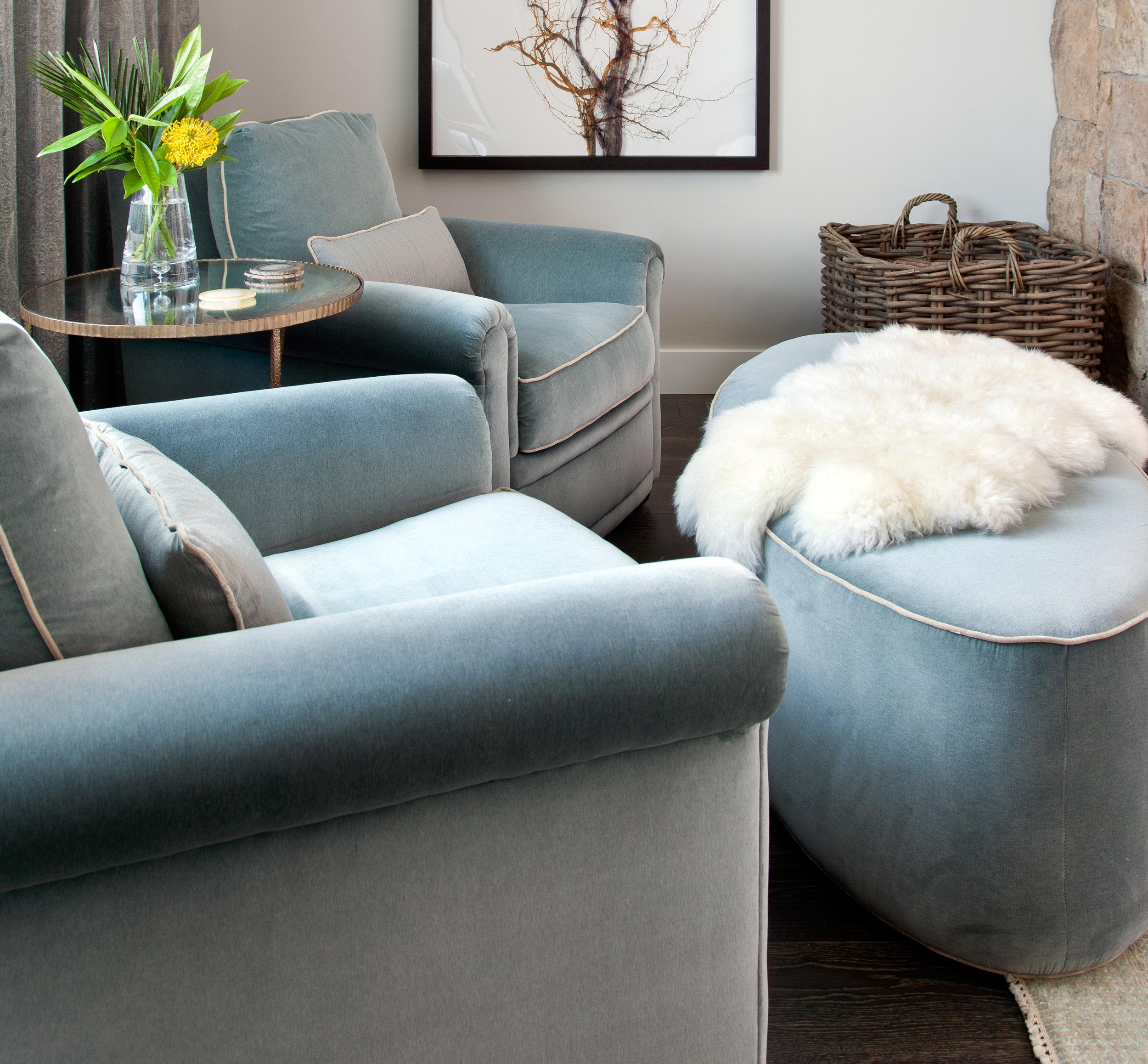 Custom Side Chairs   by JJ Custom |   Bacan Porpoise     Velvet Fabric   by Fortuny